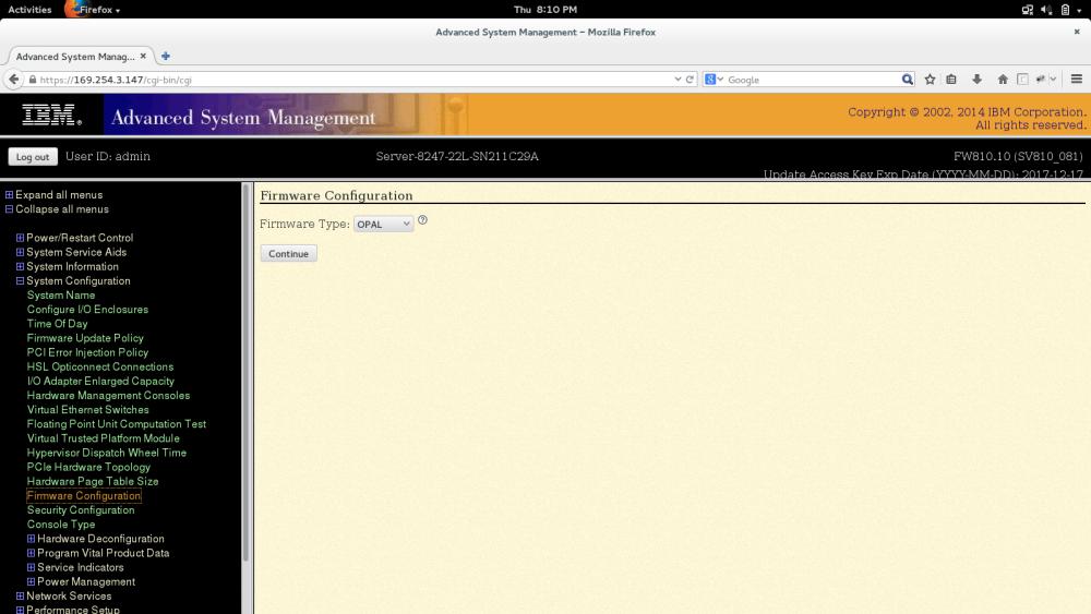 Change Hypervisor mode on Power8 Server (PowerVM to PowerKVM) (3/3)
